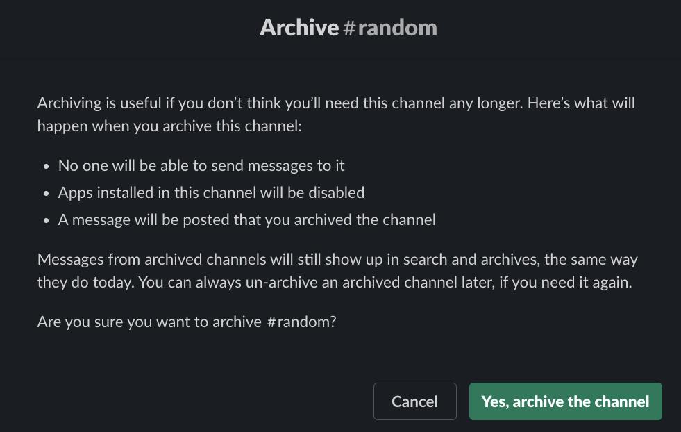 Slack archive channel
