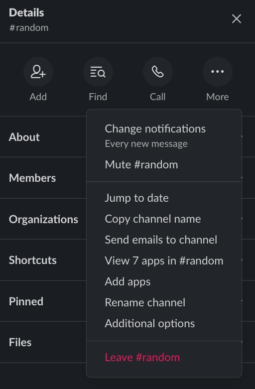 Slack side menu more options