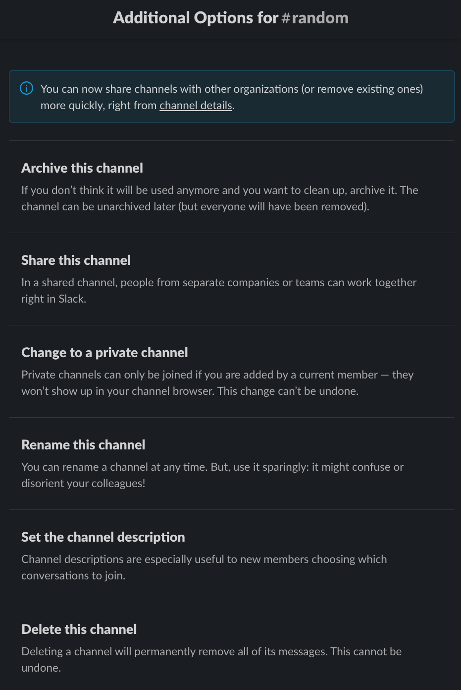 Slack side menu additional options